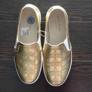 New Cole Haan Gold Reticulated Slip On Sneaker